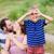 child making pretend binoculars with hands stock photo © o_lypa