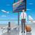 fiatalember · utazó · illusztráció · repülőtér · indulás · üzlet - stock fotó © olegtoka