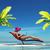 nő · fürdőruha · laptopot · használ · ül · napágy · trópusi · tengerpart - stock fotó © orla