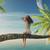 vrouw · vergadering · palmboom · oceaan · 3d · render · illustratie - stockfoto © orla