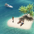 trópusi · tengerpart · hajó · trópusi · tengerpart · pálmafák · fából · készült - stock fotó © orla