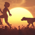 child and a dog on the field at sunset stock photo © orla