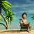 man · tropisch · eiland · vergadering · stoel · kijken · oceaan - stockfoto © orla