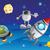 desenho · animado · foguete · alienígena · planeta · ilustração · retro - foto stock © oxygen64