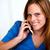 vrouw · telefoon · wachten · houden · ernstig · jonge - stockfoto © pablocalvog