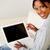 красивой · черный · женщины · рабочих · ноутбука · портрет - Сток-фото © pablocalvog