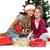 anya · lánygyermek · karácsonyfa · ajándékok · izolált · fehér - stock fotó © pandorabox