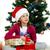lány · karácsonyfa · haj · divat · lövés · szőke - stock fotó © pandorabox