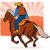 rodeio · vaqueiro · ilustração · céu · sol · pôr · do · sol - foto stock © patrimonio