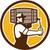 bartender carrying keg pouring beer circle retro stock photo © patrimonio