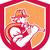 fireman firefighter holding fire hose shoulder shield stock photo © patrimonio
