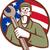 mechanic holding wrench usa flag circle retro stock photo © patrimonio