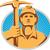 coal miner with pick ax hardhat front retro stock photo © patrimonio