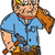 carpenter builder hammer wood plank cartoon stock photo © patrimonio