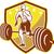 crossfit athlete runner barbell shield retro stock photo © patrimonio