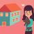 nő · mozog · ház · háztulajdonos · áll · új · otthon - stock fotó © penguinline