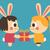 homosexual bunny couple trading a present stock photo © penguinline