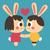 bunny couple holding hands stock photo © penguinline