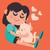 cute · dziewczyna · domowych · kot · cartoon - zdjęcia stock © penguinline