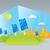 eco · zonnepanelen · illustratie · groene · veld · boom - stockfoto © penivajz
