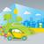 eco · auto · illustratie · groene · veld · boom - stockfoto © penivajz