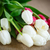 ramo · tulipanes · edad · mesa · arpillera · Pascua - foto stock © Peredniankina
