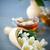 chá · verde · copo · bule · mesa · de · madeira · folha · jardim - foto stock © peredniankina