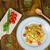 pasta · albahaca · mozzarella · tomates · cherry · tagliatelle · alimentos - foto stock © peteer