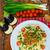 спагетти · пасты · белое · вино · помидоров · базилик · деревянный · стол - Сток-фото © peteer