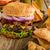 amerikaanse · rustiek · hamburger · spek · cheddar · rundvlees - stockfoto © Peteer