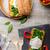 yumurta · tost · ızgara · domates · mantar · salata - stok fotoğraf © peteer