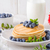 americano · panquecas · mirtilos · bordo · xarope · comida - foto stock © Peteer