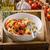 pasta · tomates · cherry · pesto · chile · hierbas · mesa - foto stock © Peteer
