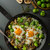 vegetable omelet with bulls eye egg and sprouts stock photo © peteer