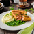 緑 · エンドウ · オリーブオイル · セラミック · ボウル · 表 - ストックフォト © peteer