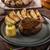 patatas · cerdo · salsa · restaurante · mesa · oro - foto stock © peteer