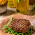 alla · griglia · carne · patatine · fritte · carbone · di · legna · peperoni · legno - foto d'archivio © peteer