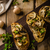 rustic toast bread with garlic mushrooms and herbs stock photo © peteer