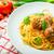 húsgombócok · paradicsomszósz · spagetti · tányér · étel · vacsora - stock fotó © peteer