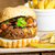beef burger with bacon cheddar homemade fries stock photo © peteer