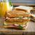heerlijk · toast · sinaasappelsap · ham · houten · tafel · voedsel - stockfoto © peteer