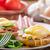 yumurta · tost · jambon · sos · bıçak · ekmek - stok fotoğraf © peteer