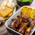 sticky chicken wings with garlic panini bread stock photo © peteer