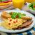 vers · ontbijt · voedsel · roereieren · sap · salade - stockfoto © peteer