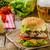 kip · hamburger · geïsoleerd · sesamzaad · voedsel - stockfoto © peteer