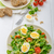 lambs lettuce salad with eggs and nuts stock photo © peteer