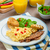 scrambled eggs with toast and fresh salad stock photo © peteer