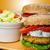 vegetáriánus · lencse · hamburger · zsemle · saláta · paradicsom - stock fotó © peteer