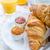 francia · reggeli · desszert · croissantok · kávé · gyümölcs - stock fotó © peteer