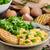 huevos · revueltos · tocino · lechuga · placa · carne · desayuno - foto stock © peteer